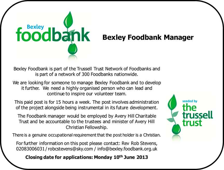 Bexley Foodbank Manager Job Advert