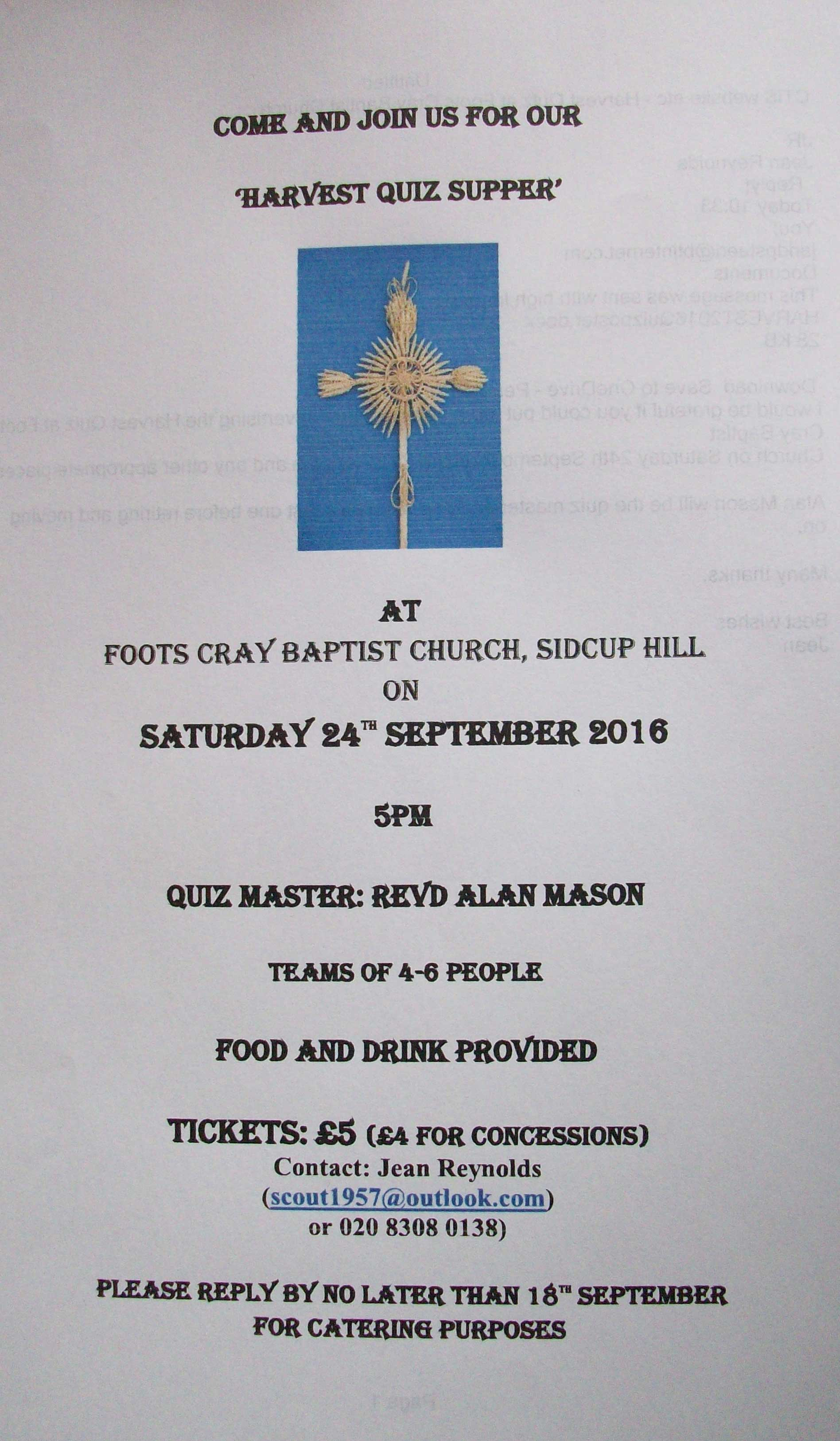 Harvest Quiz Supper at Foots Cray Baptist Church, Sidcup