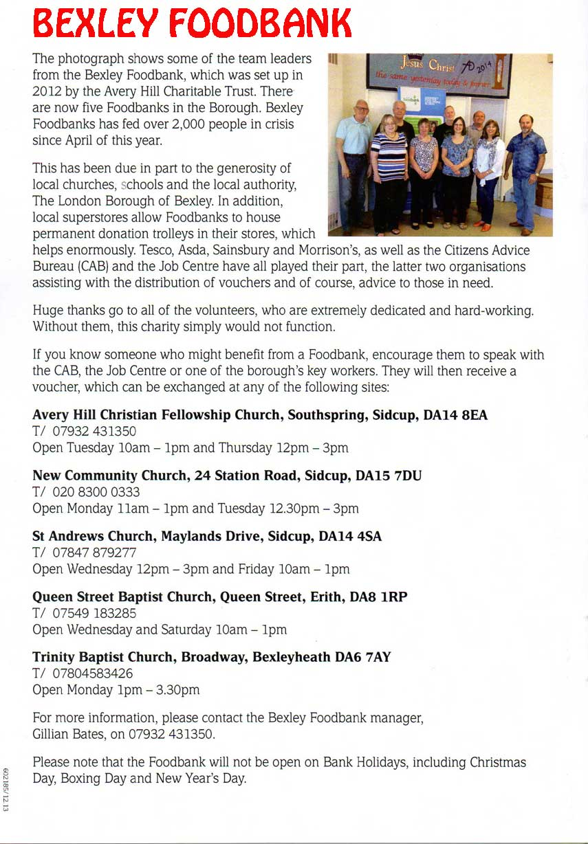 Bexley Foodbank Update, Avery Hill Christian Fellowship