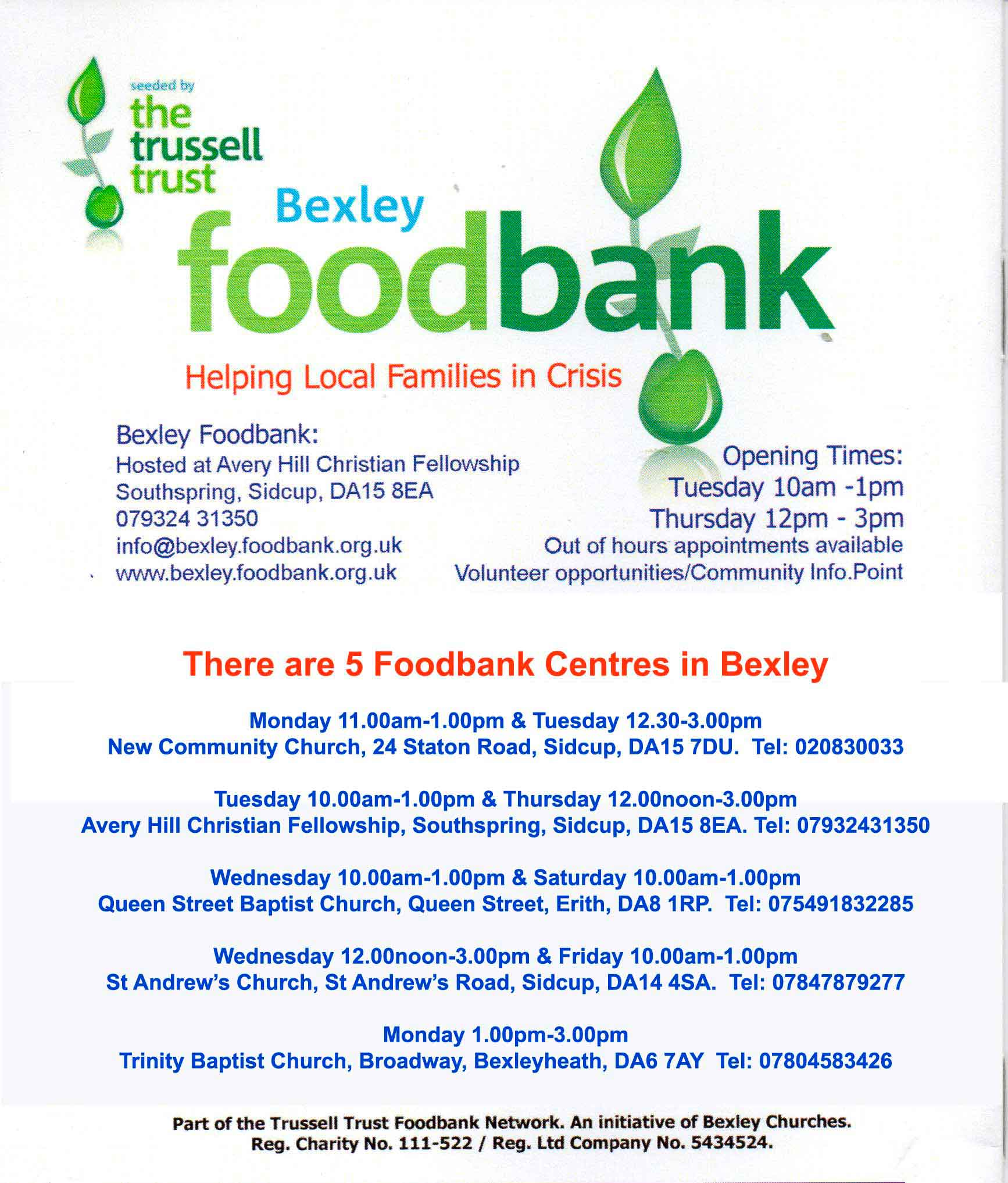 Bexley Food Bank, Avery Hill Church