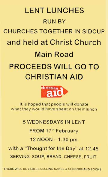 CTiS Lent Lunches at Christchurch, Main Road, Sidcup