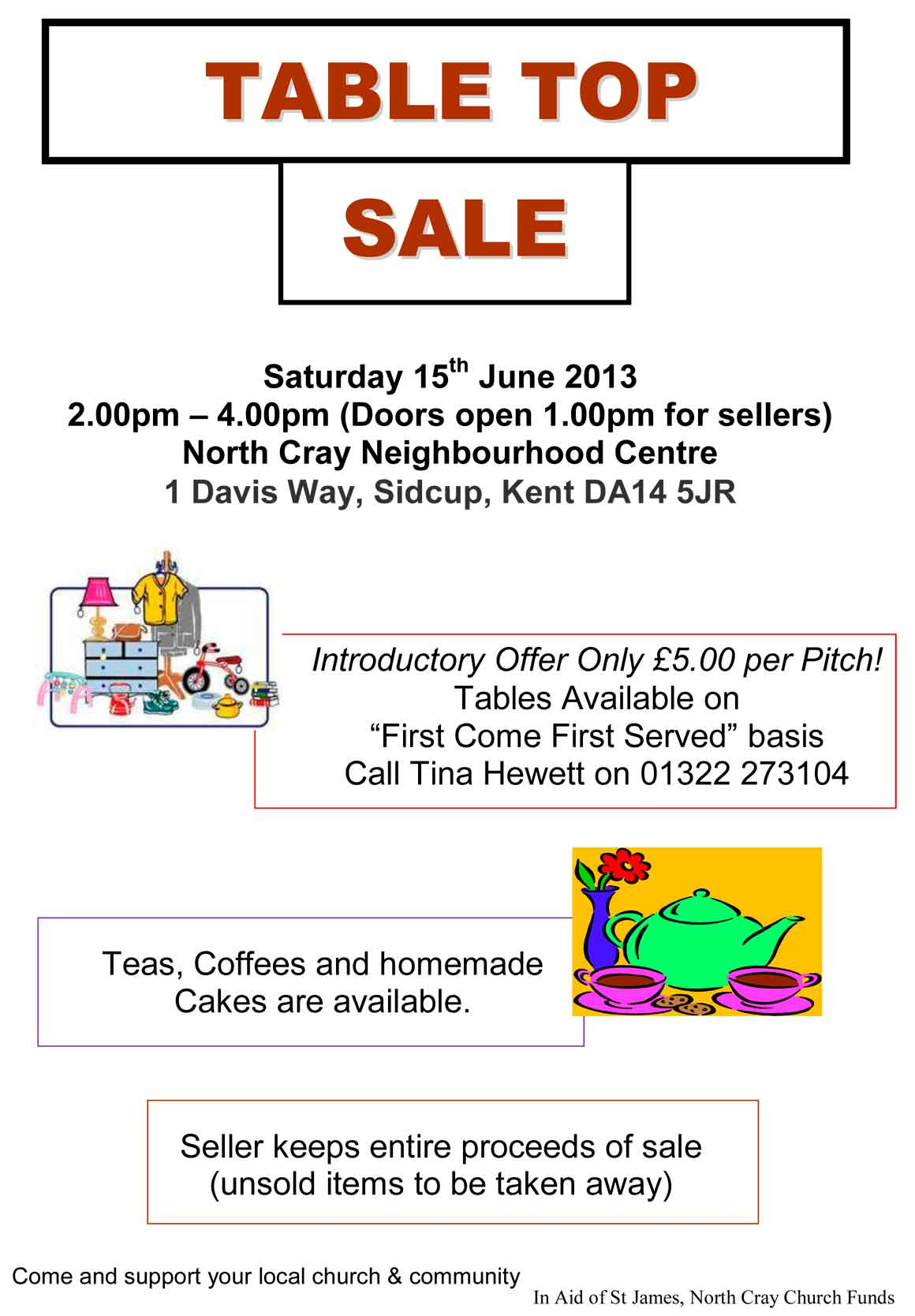 St. James Church, North Cray, Table Top Sale