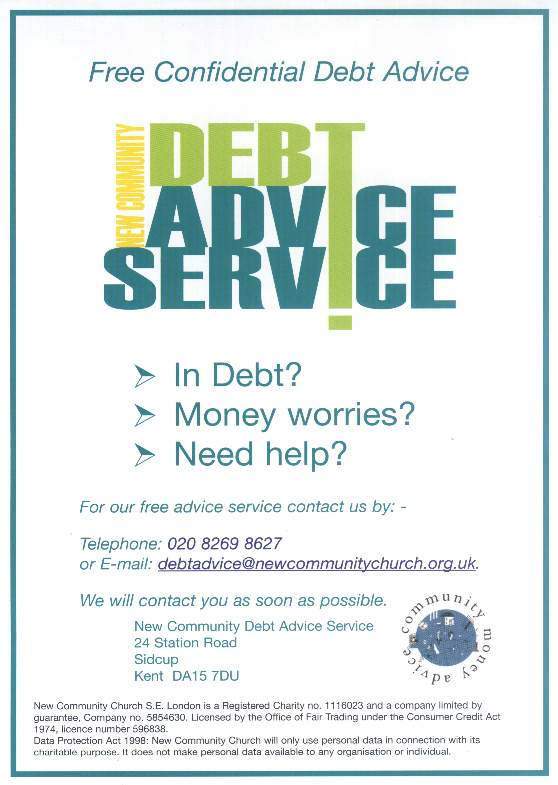 New Community Debt Advice Flyer